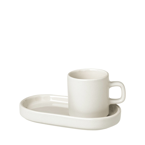 Pilar Espresso Cup with Tray Set of 2 - Moonbeam (Cream)