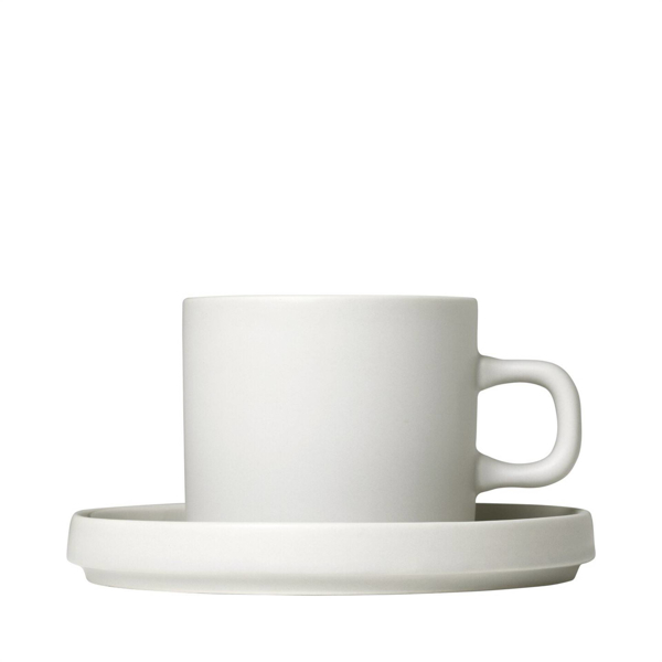 Pilar Coffee Cups with Saucers Set of 2 - Moonbeam/Cream
