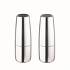 Salpi Salt & Pepper Mills - Polished Stainless Steel with Sharkskin (grey) and Magnet (charcoal) Tops