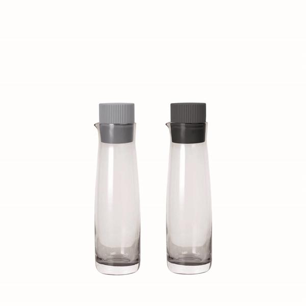 Olivigo Oil And Vinegar Serving Set with Colored Lids - Sharkskin/Magnet