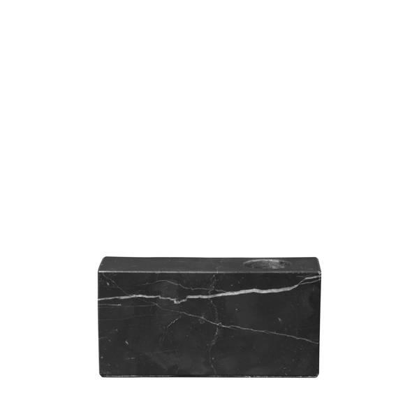 Bloc Marble Candle Holder - Black